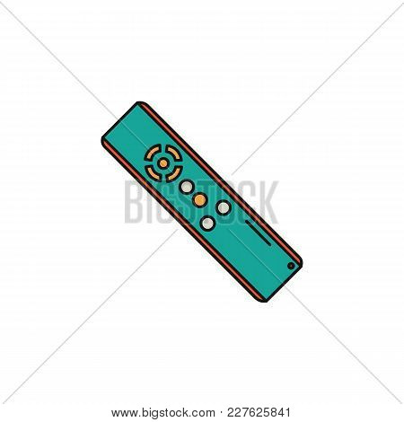 Remote Control Colorful Cartoon Icon Isolated On White Background. Remote Control Object For Cartoon