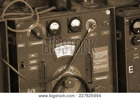 Liberation of Kiev from nazis reenactment.German communication equipment . At November 7,2013 in Kiev, Ukraine