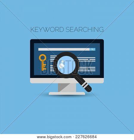 Keyword Searching Flat Concept Design Vector Eps 10 Illustration