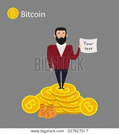 Isometric Businessman Investor On A Stack Of Bitcoin. The Concept For Web Or Infographics Vector Ill