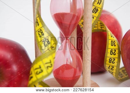 Fat Burning And Weight Loss Process. Diet And Fitness Concept. Red Apples And Tape Measure Isolated,