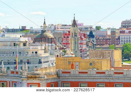 Panoramic View From Above On The Capital Of Spain- The City Of M