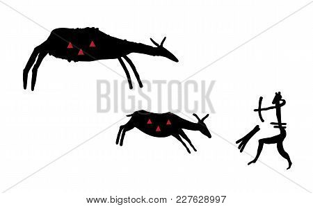 Primitive Hunting. Stylization. The Silhouette Of A Man In An Animal Mask Shoots A Bow In Two Ungula