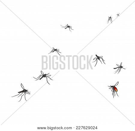 A Flock Of Flying Mosquitoes. Drunk Blood And Hungry Mosquitoes. Silhouette, Graphic Image. Isolated