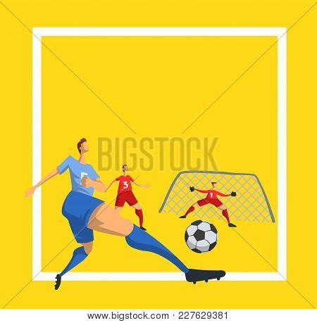 Soccer Football Players In Abstract Flat Style. Design Template For Sport Poster. Vector Illustratio