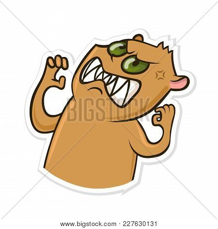 Sticker For Messenger With Funny Animal. Angry Hamster. Vector Illustration, Isolated On White Backg