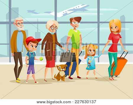 Family travel in airport vector illustration. Family kids, parents or grandparents and pet dog with traveling luggage bags in airport terminal for boarding on summer holiday vacations poster