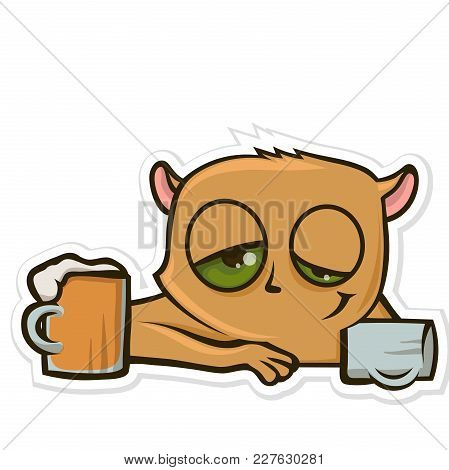 Sticker For Messenger With Funny Animal. Hamster Drinking Beer At The Bar. Vector Illustration, Isol