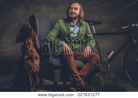 A Stylish Irland Hipster Man Posing With Single Speed Bicycle And Irish Setter Dog.