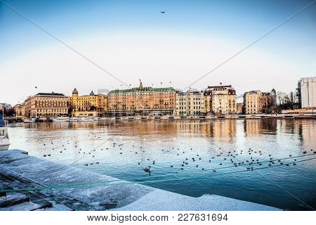 STOCKHOLM SWEDEN - JAN 18, 2016: Architecture in the centre of Stockholm on Jan 18, 2016, Sweden.  Stockholm is the capital of Sweden and the most populous city in Scandinavia
