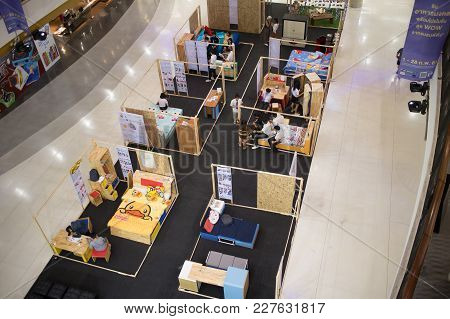 Chiang Mai, Thailand - February 20 2018: Student And Bed Display  In Funiture Design Thesis Even Of