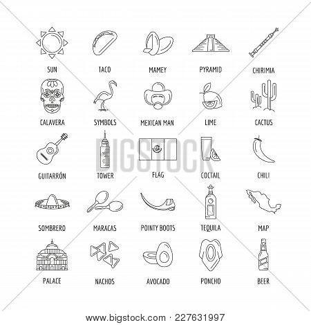 Mexico Culture And Traditions Outline Icons Set. Mexico Objects Vector Illustration Isolated On Whit