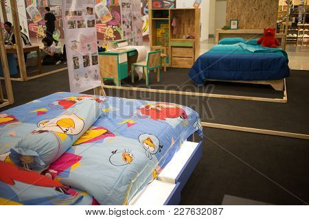 Chiang Mai, Thailand - February 20 2018: Bed Display  In Funiture Design Thesis Even Of Rajamangala