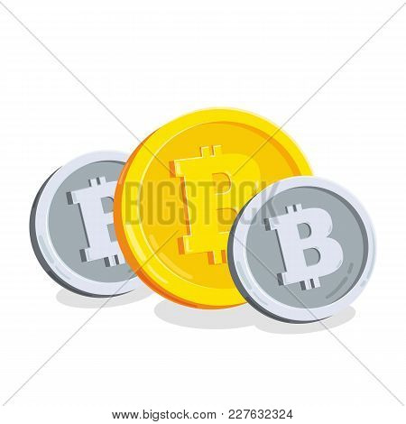 Bitcoin, 2d Cartoon Bit Coin, Digital Currency.