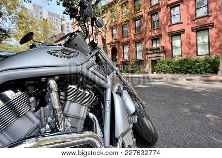 New York City, Usa - Aug. 27: Harley-davidson On Street On August 27, 2017 In New York City, Ny. Har
