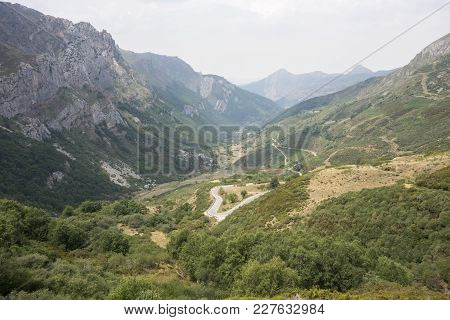 Mountain Road In Saliencia Valley, Somiedo Nature Reserve. It Is Located In The Central Area Of The
