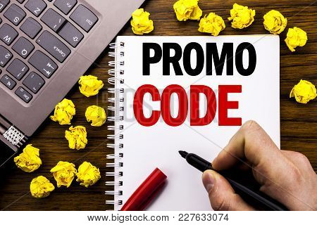 Conceptual Hand Writing Text Caption Promo Code. Business Concept For Promotion For Online Business