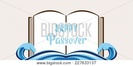 Abstract Passover Story Haggadah Book Over Splitted Red Sea. The Story Of Jew Escape From Egypt.vect