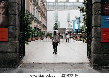 Madrid, Spain - June 4, 2017: Female Tourist At Entrance To Thyssen-bornemisza Museum. It Is An Art