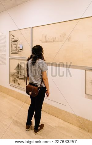 Madrid, Spain - June 4, 2017: Unidentified Woman At Architecture Exhibition In Thyssen-bornemisza Mu