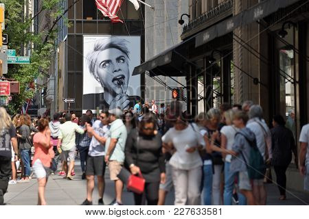 New York City - Aug. 26: Advertisement On Street In Manhattan On August 26, 2017 In New York City, N