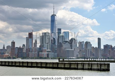 Manhattan Skyline And Hudson River At Morning, New York City