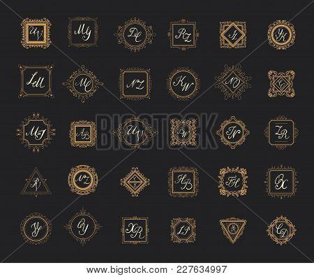 Set Luxury Monogram Logo Template With Flourishes Ornament Elements. Elegant Design For Business Sig