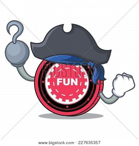 Pirate Funfair Coin Character Cartoon Vector Illustration