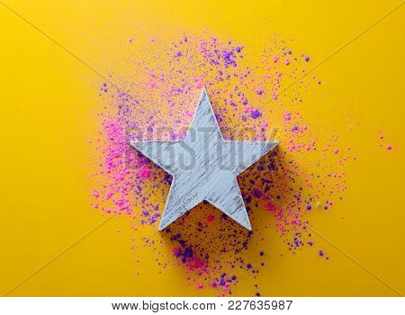 Pink And Purple Paint And White Star