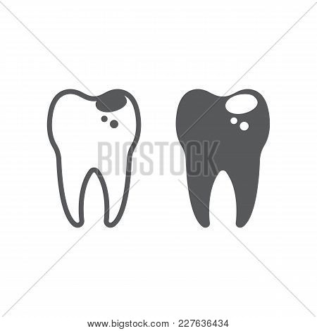 Sick Tooth Line And Glyph Icon, Stomatology And Dental, Caries Sign Vector Graphics, A Linear Patter