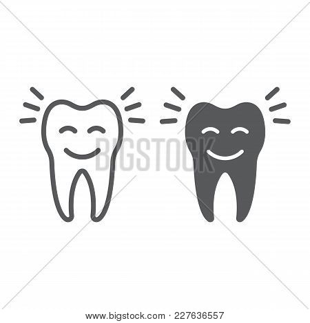 Smiling Tooth Line And Glyph Icon, Stomatology And Dental, Cleaned Tooth Sign Vector Graphics, A Lin