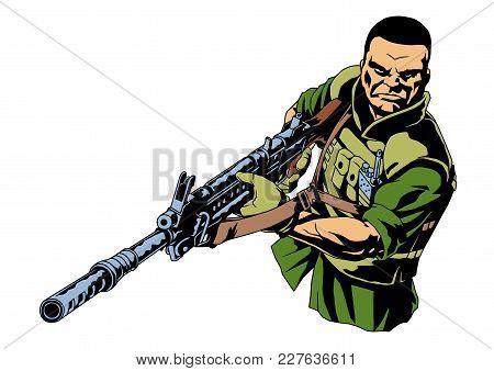 Brutal War Soldier With A Gun, Illustration, Vector, Color