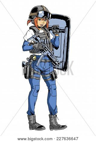Police Girl With Gun And Shield, Illustration, Vector, Color