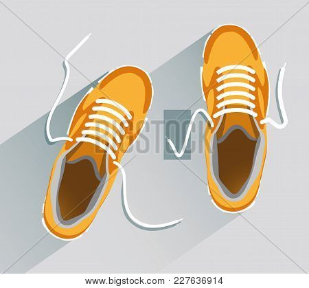 Shoes. Shoes In Flat Style. Shoes Top View. Fashion Shoes. Fashion Shoes Orange. Vector Illustration