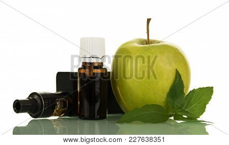 Electronic Cigarette And Fluid For Smoking, Next To An Apple Isolated On White Background