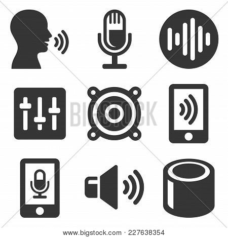 Voice Smart Devices With Sound Wave Icons Set. Vector Illustration