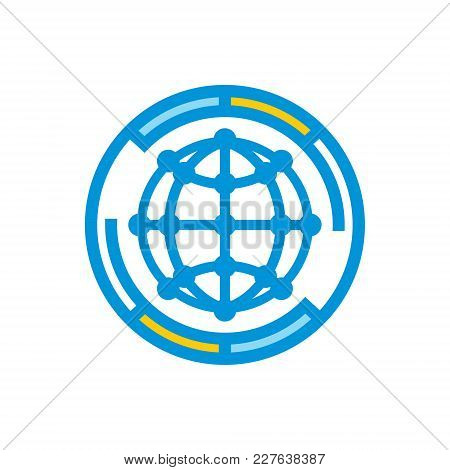 Globe With Points Isolated On A White Background