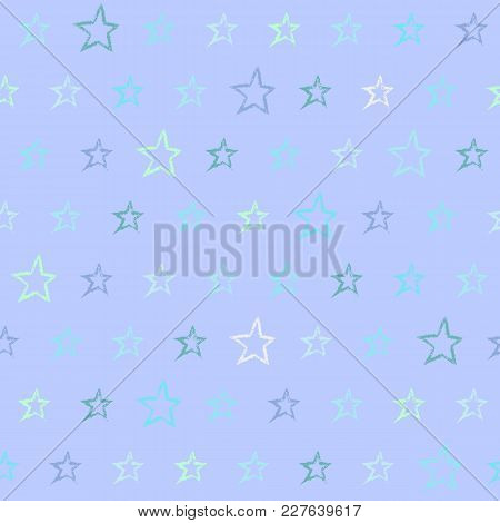 Lilac Seamless Pattern With Hand Drawn Stars. Repeating Texture With Doodle Symbols