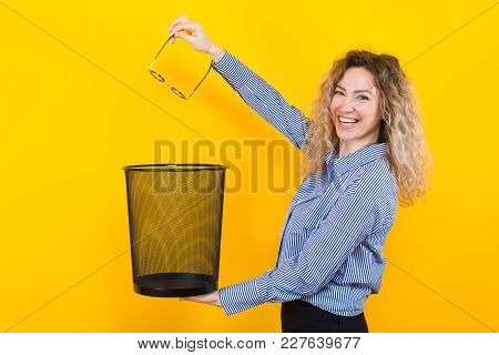 Woman Throw Away Her Glasses