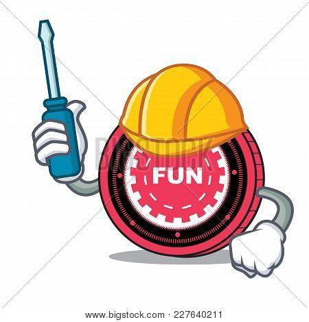 Automotive Funfair Coin Mascot Cartoon Vector Illustration