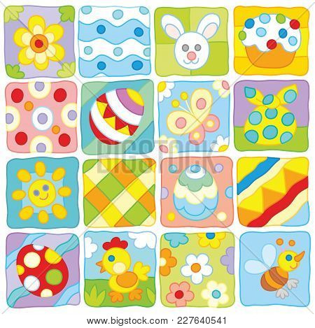 Easter Pattern. Vector Collection Of Holiday Icons With Flowers, Eggs And Other Colorful And Simple
