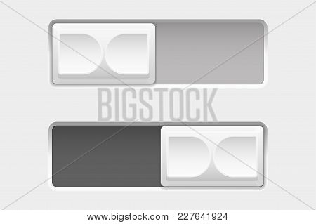 On And Off Control Slider Buttons. Vector 3d Illustration