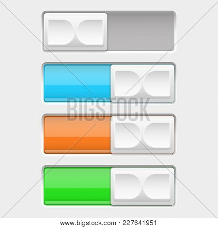 On And Off Slider Buttons. Off And On Colored Square Buttons. Vector 3d Illustration