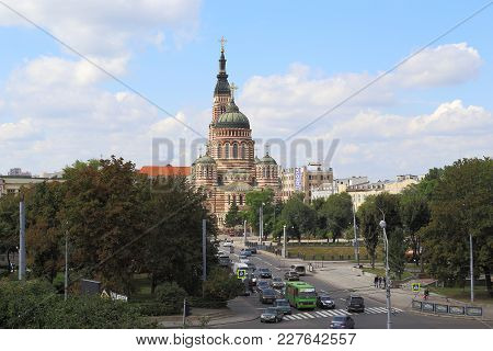 Kharkov, Ukraine - September 6, 2017: It Is View Of The Holy Annunciation Cathedral.