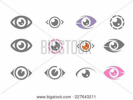 Eye Icon, Eye Logo Vector. Minimalistic Flat Eye Icons