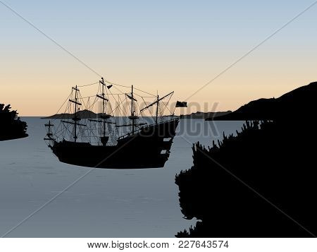 Black Silhouette Of The Pirate Ship Isolated On Sea Level