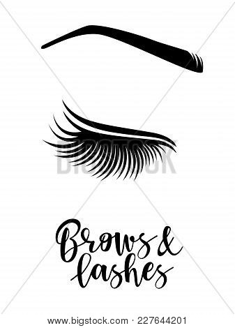 Brows And Lashes Logo. Vector Illustration Of Brows And Lashes. For Beauty Salon, Brows Master, Lash