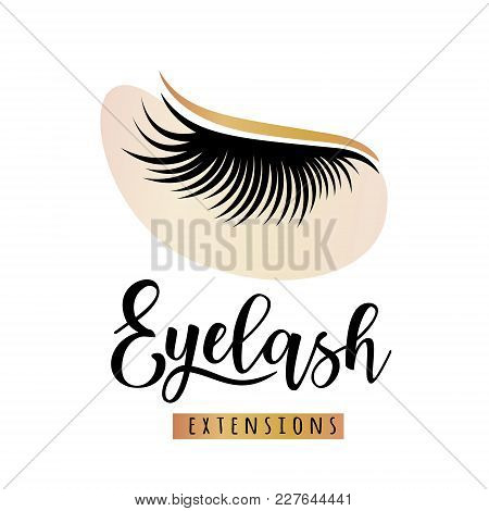 Eyelash Extensions Logo With Eye Patch. Vector Illustration Of Lashes. For Beauty Salon, Lash Extens