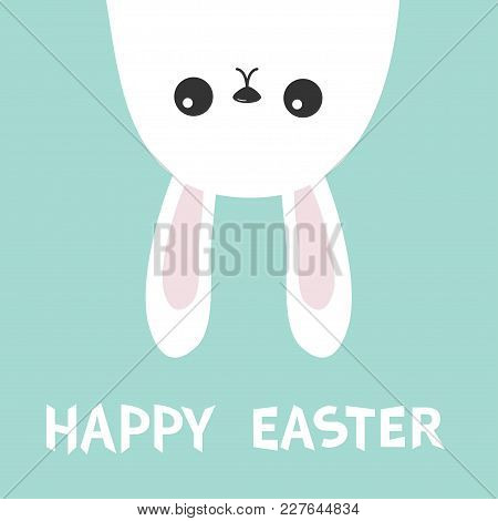 Happy Easter. Three White Bunny Rabbit Hanging Upside Down. Picaboo. Flat Design. Funny Head Face. C