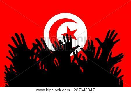 Hands up silhouettes on a Tunisia flag. Crowd of fans of soccer, games, cheerful people at a party. Vector banner, card, poster.